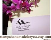 Custom Rubber Stamp -Modern Calligraphy Script  - Personalized Return Address Wedding Stamper-birds theme