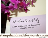 Custom Address Rubber Stamp SELF INKING -- Personalized Family  name -cute wedding gift