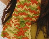 Vintage 1970s Multi Color Hand Knit Scarf
