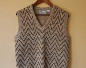 Vintage 1970s Chevron Sweater Vest - Mens Small