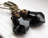 Reserved. Jet Black Crystal Earrings, Simple Black Earrings, Baroque Earrings, Swarovski Crystal Earrings, Antiqued Brass Wire Wrapped