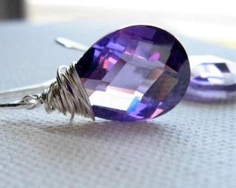 Amethyst Earrings, Royal Purple, Cubic Zirconia, Aubergine, Bridesmaid Earrings, Amethyst CZ, Sterling Silver, Purple Wedding