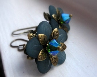 Teal Flower Earrings, Daisies and Crystals Wire Wrapped in Antiqued Brass