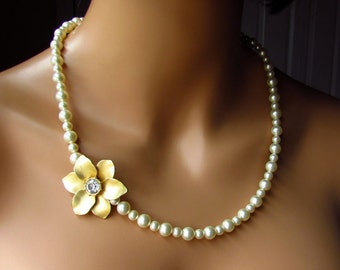 Single Strand Pearl Necklace, Cream Ivory Swarovski Pearls Asymmetrical Gold Flower Pendant, Romantic Vintage Inspired Bridal Jewelry