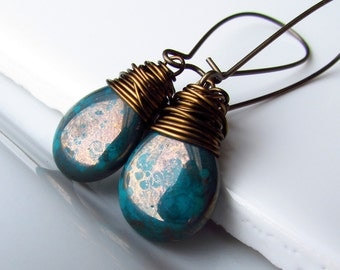 Dark Turquoise Picasso Czech Glass Earrings, Vintaj Brass Wire Wrapped Teardrops, Long Earwires