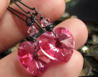 Rosy Pink Swarovski Heart Earrings, Oxidized Sterling Silver Wrapped, Elongated Earwires