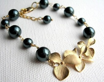 Tahitian Swarovski Pearl and Orchid Bracelet, Gold Filled, Adjustable Romantic Wire Wrapped Bridal Jewelry