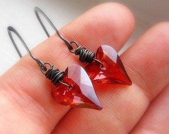 Small Red Heart Earrings, Swarovski Crystal, Wild Hearts, Heart Dangle Earrings, Oxidized Sterling Silver, Wire Wrapped, Valentine's Gift