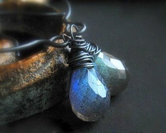 Labradorite Earrings, AAA Blue Fire Gemstone, Blue Stone Handmade Earrings, Rustic, Oxidized, Sterling Silver, Wire Wrapped