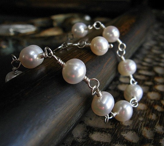 Freshwater Pearl Bracelet, Sterling Silver Wire Wrapped Bridal Jewelry