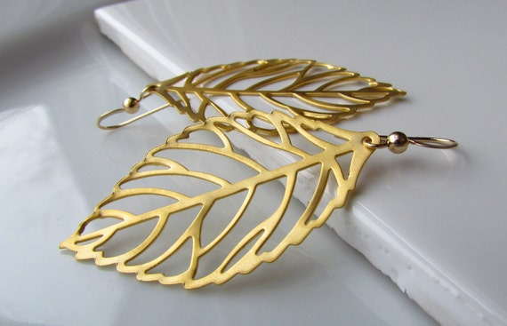 Gold Leaf Earrings, Matte Gold Filigree Leaves, 14Kt Gold Filled Earwires, Delicate Minimalist Bridal Jewelry