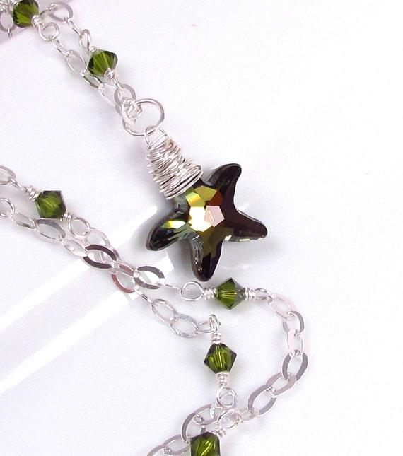 Crystal Starfish Necklace, Swarovski Tabac and Olivine Wrapped Pendant, Sea Star