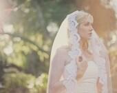 Beaded Lace Mantilla Veil, Bridal Veil, 222