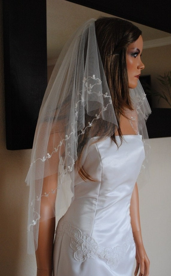 Available only in White Clearance READY TO SHIP Two Tier Veil with Embroidered Detail, Sequins, Pearls and Glass Beads
