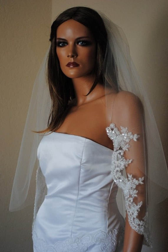 Diana Waist Length 2 Tier Lace Edged Veil Embroidered with Beads Pearls and Sequins, Available in Ivory and Off White (Diamond White)
