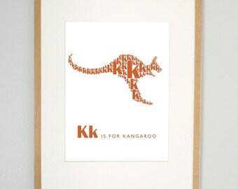 Kids modern wall art, K is for kangaroo