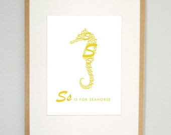 Kids modern wall art, S is for seahorse