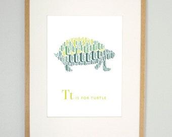 Kids modern wall art, T is for turtle