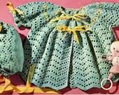 Vintage Crochet Baby Chevron Stitch Sweater And Bonnet  Knit Dew Drop Stitch Sweater Digital PDF Pattern