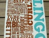 Surfer lingo letterpress poster,beach poster