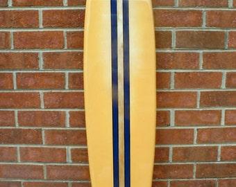 Surfboard wall hanging, four foot surfboard beach decor, beach art
