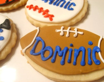 Sports ball cookies with custom name (3 dozen)