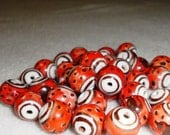 Hand Painted Porcelain Beads Coral with Brown Birds Famille Rose Style 14mm 33pcs Destash