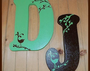 12inches handpainted wood letters Handpainted and Distressed ABCDEFGHIJKLMNOPQRSTUVWXYZ Can be made in any font from Fontyukle DOT com