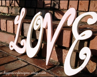 Wood letters L O V E up to 12inches