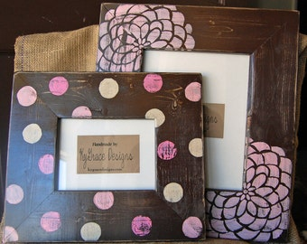 8x10 and 5x7 painted frame set Painted in baby pinks browns and cream