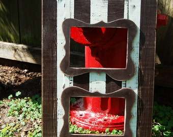 Handmade Double 5x7 frame with handcut trim Can be painted in any two colors to match your decor