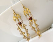 Gold and Pink Crystal Chandelier Earrings, Valentine's Day Gift For Her - A Drop of Merlot