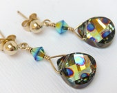 Gold Earrings, Peacock Earrings, Post Earrings, Holiday Gift for Her, Swarovski Earrings - Swarovski Peacock Dangle Earrings