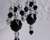 Black Crystal and Glass Chandelier Earrings, Bridal Party Jewelry - Pagoda Black