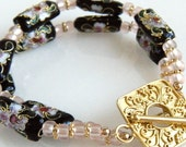 Cloisonne Bracelet, Black and Pink Floral - Somei Yoshino Cherry Blossom