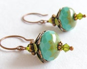 Luscious Turquoise, Green and Copper Flower Earrings - Mountain Berry