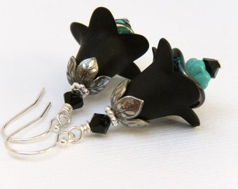 Black Flower Earrings, Black and Turquoise Earrings, Floral Earrings, Gift for Gardener