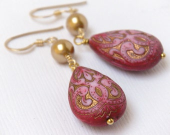 Pink Teardrop Earrings, Middle Eastern, Ornate Pink Earrings, Hot Pink Earrings, Boho Earrings - Moroccan Teardrop Dangles