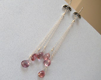 Extra Long Dangle Earrings, Pink Floral Earrings, Chain Earrings, mystic pink quartz, Valentine's Day - This Year's Love