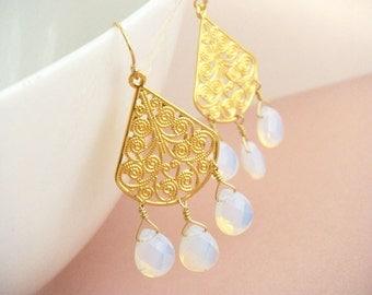 Gold Earrings, Chandelier Earrings, Opal Glass Earrings, Opal Glass and Gold Filigree Earrings - Atlantis