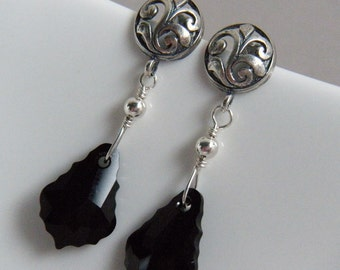 Black Crystal Earrings, Victorian Style Earrings, Oxidized Sterling Silver - Afternoon Duchess Jet Black