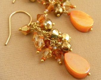 Gold Earrings, Apricot Earrings, Mother of Pearl Earrings, Gold Swarovski Earrings, Burnt Orange and Gold Earrings - Apricot Gold