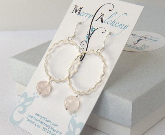 Rose Quartz Earrings, Hoop Earrings, Silver Earrings - Rose Quartz Dangle Earrings