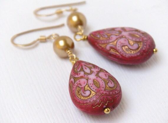 Pink Teardrop Earrings, Middle Eastern, Ornate Pink Earrings, Hot Pink Earrings, Boho Earrings - Moroccan Teardrop Dangles