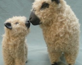 English Shropshire Ewe Nose to Nose with Lamb in Porcelain and Wool