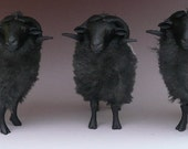 Colin's Creatures German Sheep Figures in Porcelain and Alpaca, Graue Gehoernte Heidschnucke