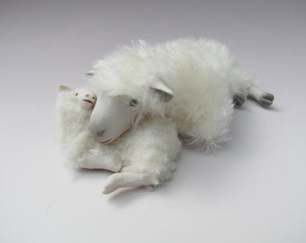 Cotswold Sheep Figure Lying With A Lamb Pillow