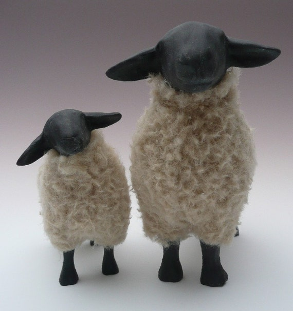 Porcelain and Wool Suffolk Ewe and Lamb Figures
