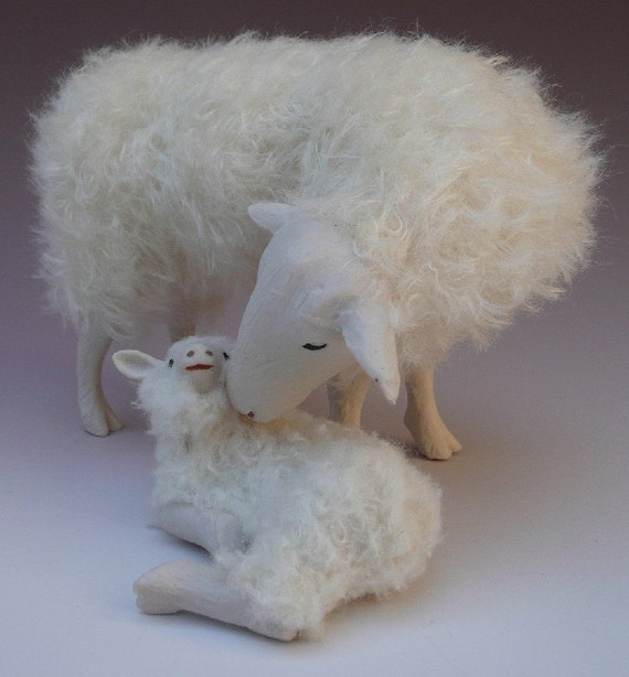Handcrafted Porcelain and Mohair Dutch Sheep FIgures, Kempen Heath Sheep Snuggling Lamb
