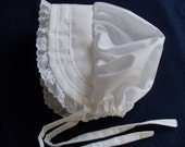 White Bonnet Sunhat Sunbonnet w/eyelet lace, sizes NB, 3,6,9,12.18.24 months